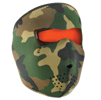 ZAN headgear Woodland Camo/Hi-Vis Orange Neoprene Face Mask