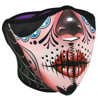 ZAN headgear Sugar Skull Reverses to Purple Neoprene Half Mask