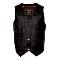 Interstate Leather Men's King Side Laced Black Leather Vest