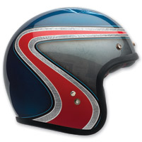 Bell Custom 500 Airtrix Heritage Blue/Red Open Face Helmet
