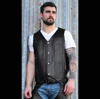 Interstate Leather Men's Shooter Black Leather Vest