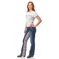 Gravitate Women's Denim/Purple Flame Motorcycle Jeans