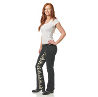 Gravitate Women's Black/Flame Motorcycle Jeans