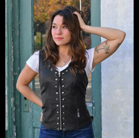 Milwaukee Motorcycle Clothing Co. Women's Daisy Black Leather Vest