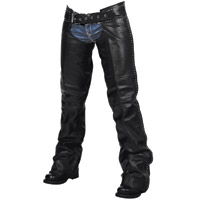 Milwaukee Motorcycle Clothing Co. Women's Della Black Leather Chaps