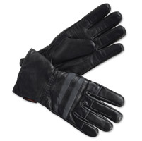 Interstate Leather Men's Striped Riding Black Leather Gloves