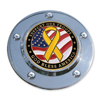MotorDog69 Timing Cover Coin Mount with Support The Troops Coin
