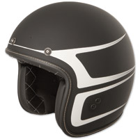 FLY .38 Retro Matte Black/White Scallop Open Face Helmet