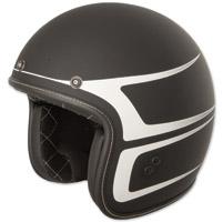 FLY .38 Retro Matte Black/White Scallop Open Face Helmet
