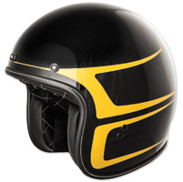 FLY .38 Retro Gloss Black/Yellow Scallop Open Face Helmet