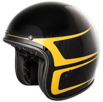 FLY .38 Retro Gloss Black/Yellow Scallop Open Face Helmet
