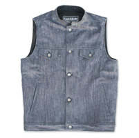 Crank & Stroker Supply Men's Break In Indigo Heavy Denim Vest