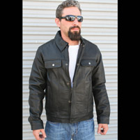 Crank & Stroker Supply Men's Ace Black Leather Jacket