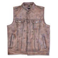 Crank & Stroker Supply Men's Break Out Brown Leather Vest