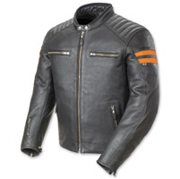 Joe Rocket Men's Classic '92 Black and Orange Leather Jacket