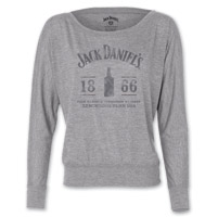 Jack Daniel's Women's 1866 Bottle Flowy Gray Long-Sleeve T-Shirt