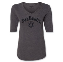Jack Daniel's Women's 3/4 Sleeve Glittered V-Neck T-Shirt