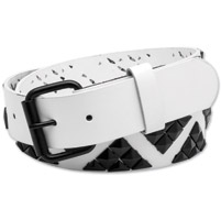Westside Accessories Men's Shark Teeth White/Black Leather Belt