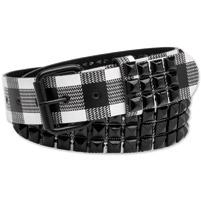 Westside Accessories Men's Black/White Plaid Leather Belt