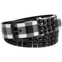Westside Accessories Men's Black/White Plaid Leather Belt