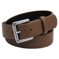 Westside Accessories Men's Silver Buckle Cognac Leather Belt