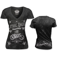 Lethal Angel Women's Girl Skeleton Biker V-Neck Black T-Shirt