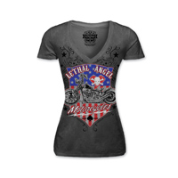 Lethal Angel Women's USA Motorcycle V-Neck Gray T-Shirt