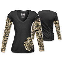 Lethal Angel Women's D.O.D. Tattoo Sleeve Black Long Sleeve Tee