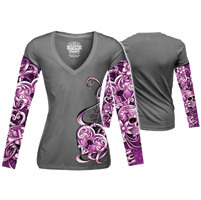 Lethal Angel Women's Heart Lock Tattoo Sleeve Gray Long Sleeve Tee