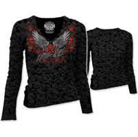 Lethal Angel Women's Rose Wing Scroll Burnout Black Long-Sleeve Tee