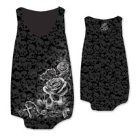 Lethal Angel Women's Rosary Skull Burnout Black Tank Top