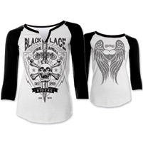 Lethal Angel Women's Black Lace Black/White Baseball Tee
