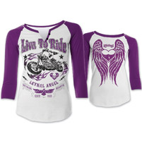 Lethal Angel Women's Live to Ride White/Purple Baseball Tee