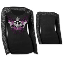 Lethal Angel Women's Divine Danger Lace Black Long-Sleeve Tee
