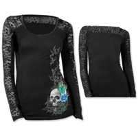 Lethal Angel Women's Peacock Feather Skull Black Lace Long-Sleeve Tee