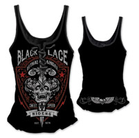 Lethal Angel Women's Black Lace Riders Black Lace Up Tank