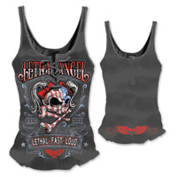 Lethal Angel Women's USA Girl Skull Lace Up Black Tank