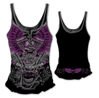Lethal Angel Women's V-Twin Skull Lace Up Black Tank