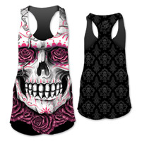Lethal Angel Women's D.O.D. Rose Skull Sublimated Black Tank
