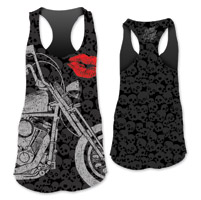 Lethal Angel Women's Motorcycle Lips Sublimated Black Tank