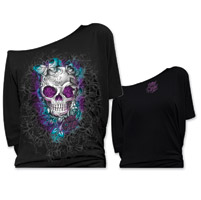 Lethal Angel Women's Butterfly Skull Off The Shoulder Black T-Shirt