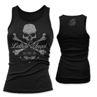 Lethal Angel Women's Skull & Crossbones Black Tank Top