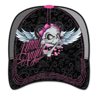 Lethal Angel Women's Girl Skull Black Trucker Hat