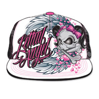 Lethal Angel Women's Girl Winged Skull White/Black Hat