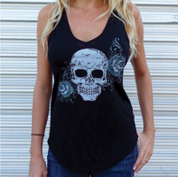 Sick Boy Sick Bitch Women's Rose Skull Black Tank Top