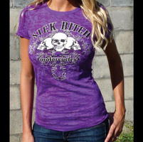 Sick Boy Sick Bitch Women's Purple Burnout T-Shirt