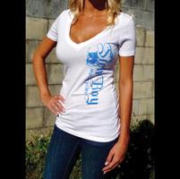 Sick Boy Women's Electric Blue White V-Neck T-Shirt