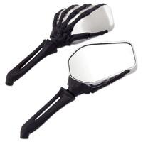 Milwaukee Twins Chrome and Black Hand Bone Mirror
