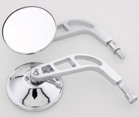 J&P Cycles Chrome Round Mirror Set with Air Glide Custom Stem