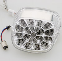 J&P Cycles® Webbed LED Taillight with Clear Lens